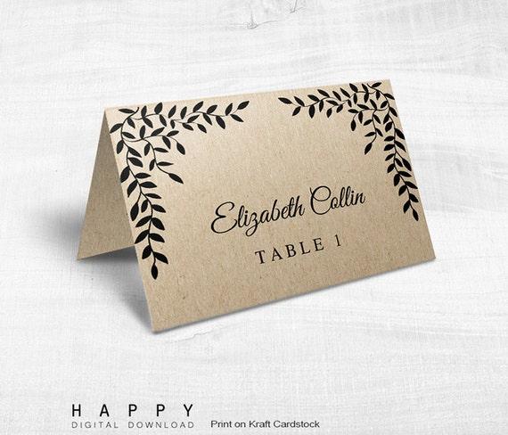 Printable Wedding Table Place Cards Editable Template PDF Files