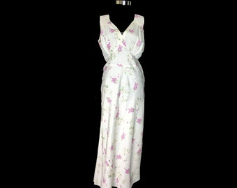 Vintage Nightgown, 1950's, Violet Print, Full Length, Sweetheart Neckline, Plunging Back, Bias Cut, Medium