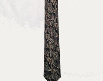 Vintage Tie, 1960's, Narrow, Skinny, Metallic Gold and Silver Swirls on Black, Olient Mark Tokyo