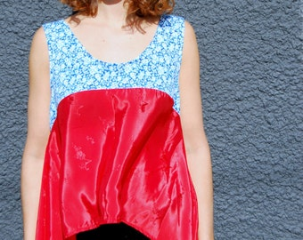 Tinker Tank ONE-SIZE red, blue, floral print, sleeveless, vintage fabric, jersey, handmade, summer style, eco fashion, upcycled, tank top