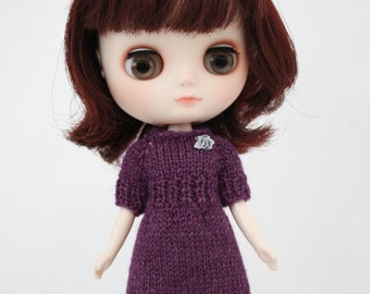 Middie Blythe doll Bernice Dress knitting PATTERN - long & short sleeve sweater dress - instant download - permission to sell finished items