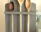 Tombstone Wooden Spoon Rack, Gray Chalk Paint, Early American, Primitive, Rustic, Farmhouse, Cabin, Home Decor, Honeysuckle Lane