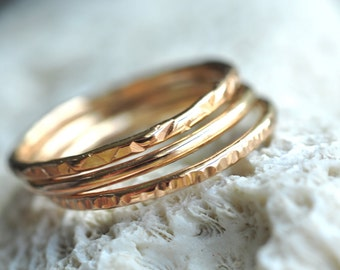 textured thin Stacking Rings set of 3 - 14k gold filled-  pick your textures -  skinny rings - gift for her