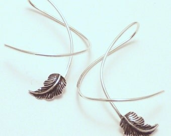 Sterling Silver Leaf Dangle Earrings - AUTUMN  BREEZE - Fun Twirl-in Casual Earwear