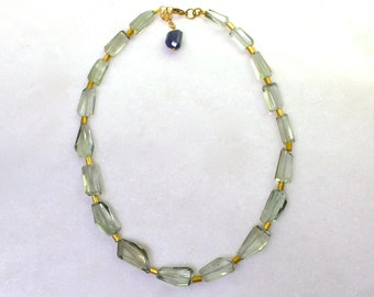 Sparkling Sage Prasiolite (Green Amethyst) 400 ctw faceted nugget necklace...