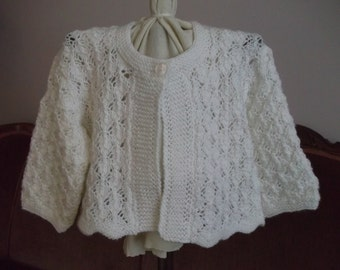 Hand Knit Lacy White Baby Sweater Cardigan