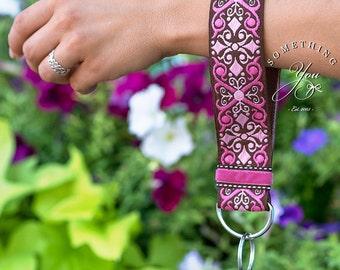 Custom Wristlet Style Scroll Jacquard Ribbon Keychain - Brown, Hot Pink, Light Pink Loop Keyfob Hands Free Key Chain with Velvet Ribbon Trim