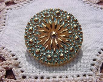 Golden Turquoise Starburst Czech Glass Button