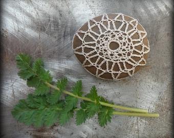 Crocheted Lace Pebble, Small, Handmade, Original, Thread, Unique Gift, Table Decoration, Smooth Stone, Home Decor, Monicaj