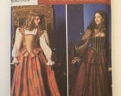 Elizabethan Costume Collection Pattern Simplicity 9256 Adult Misses sizes 14,16,18,20