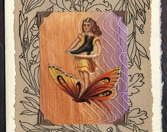 Fairy and Butterfly Collage Greeting Card