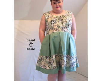 Adventure Dress - tigers + green linen, plus size, size 30, size 32W, fit & flare, gear pockets, indie designer sample -- 58B-53W-75H
