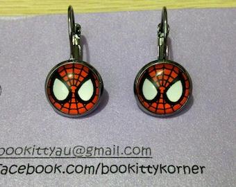 Spider-Man Gunmetal Leverback Dangle Earrings