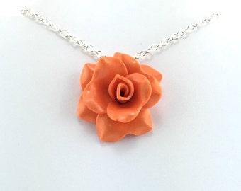 Medium Orange Rose Pendant - Simple Rose Necklace - Orange Rose Necklace  - Bridesmaid, Wedding Jewelry - Polymer Clay - MADE to ORDER