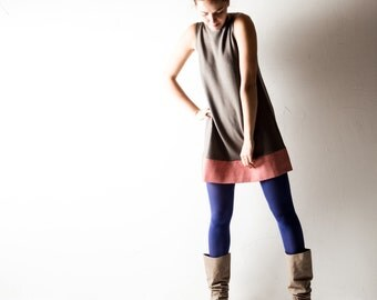 Tunic dress, wool dress, Grey dress, Shift dress, Tshirt dress, Red Winter dress, Warm dress, Aline dress, short dress, Winter clothes