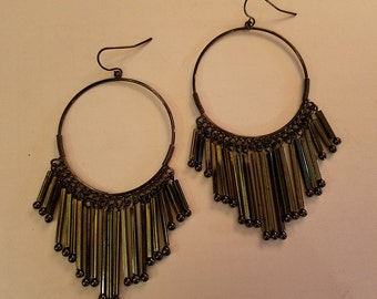 "Very Long 4"" Dangle Earrings Aged Silver Cascading Duster"