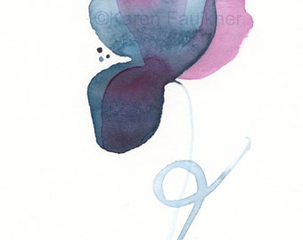 "Watercolor print of an indigo flower: ""Joyful Morning"""