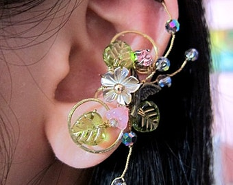 Shell and Pink Garden Flowers With Bird Ear Cuff Woodland Fantasy Nature Gold Feminine Bling Cuff Earring