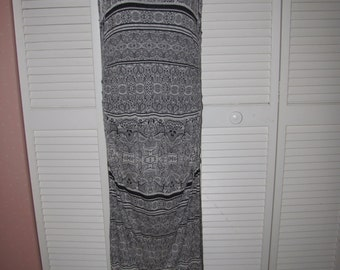 black and white b&w henna tribal print backless shredded maxi t shirt dress size Extra Large L XL