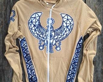 Horus Ankh zip hoodie jacket sweatshirt zipped hoodie meditation batik beige custom hoodies & Sweatshirts mens clothing Yoga gifts festival