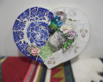 blue and white heart broken china mosaic shabby cottage chic mixed media decoration