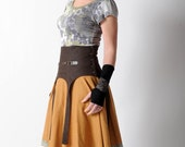 Womens brown belt, Wide brown waist cinching belt with straps, Brown high waist belt, Steampunk belt, MALAM, Size UK 12