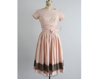 pink cotton dress | vintage 1950's dress