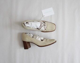 bone leather heels | square toe heels | size 5.5 6 heels