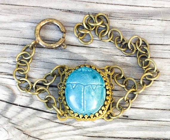 Ceramic Scarab bracelet *BULK DISCOUNT* Antique circa 1920s Etruscan Egyptian Revival Turquoise ceramic cab CHUNKY filigree brass boho b5