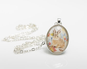 Rabbit Necklace, Art Print Necklace, Wildlife Necklace, Woodland Necklace