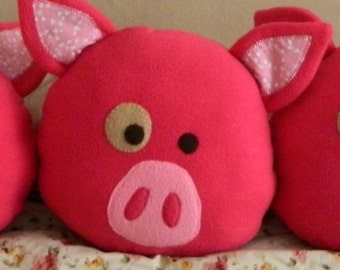 Decorative Pig Pillow READY to ship, Hot pink pig pillow with small white hearts, children decorative pig pillow