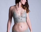 Lace Bra - Lingerie - Green and Gold See Through Sheer 'Sassafras' Style Bra - Custom Fit Made To Order - Limited Edition