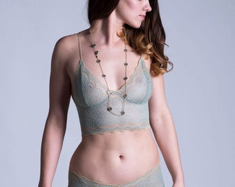 LAST ONE Lace Bra - Lingerie - Green and Gold See Through Sheer 'Sassafras' Style Bra - Custom Fit Made To Order - Limited Edition