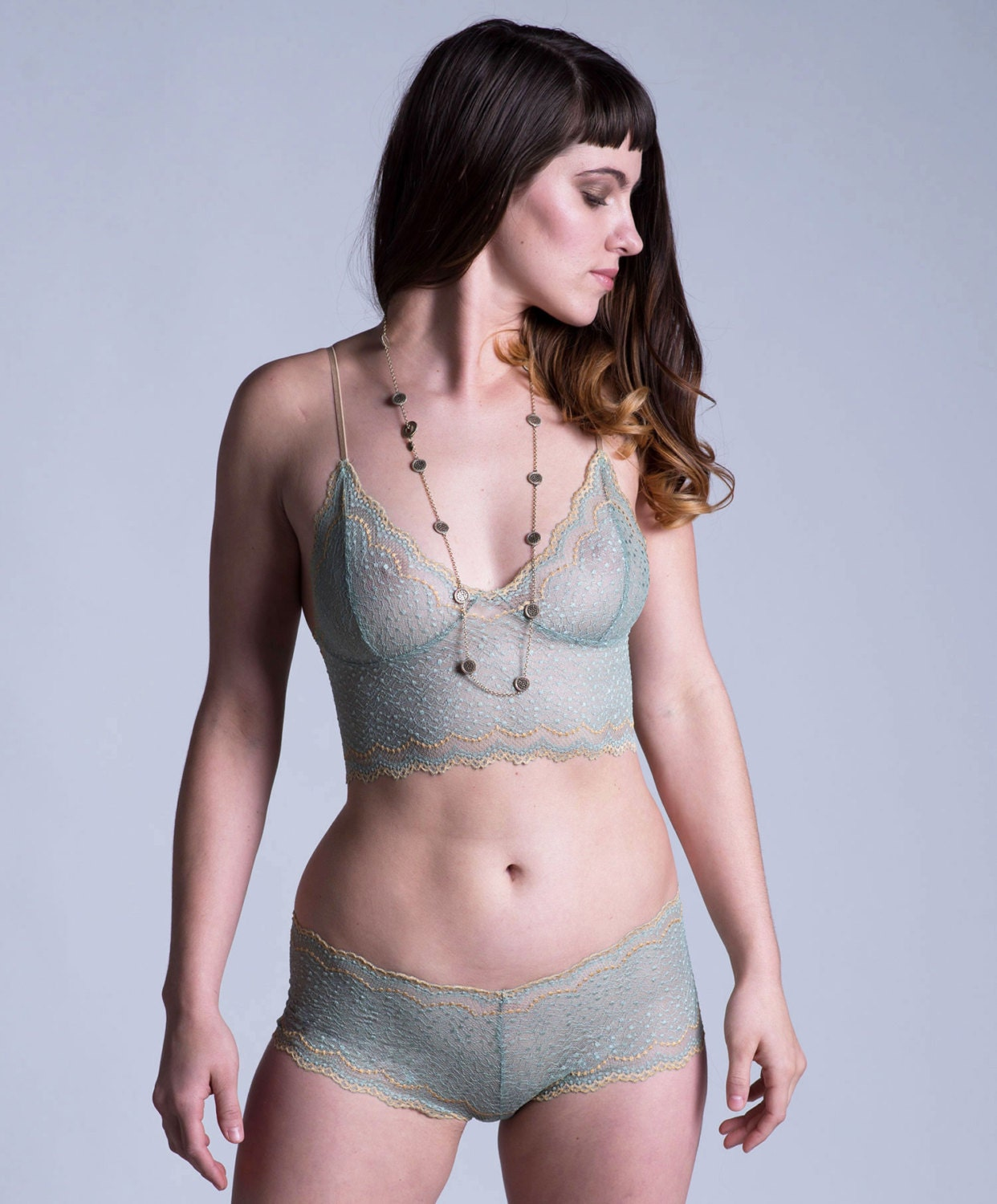 last one lace bra lingerie green and gold see through. Black Bedroom Furniture Sets. Home Design Ideas