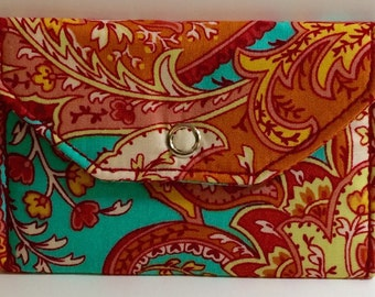 Card Pocket - Pink & Turquoise Paisley - Business Cards - Holder - Wallet - Gift - Holiday - Christmas