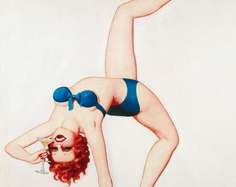 ENOCH BOLLES 20X24 DECO Martini Bar 1920s Jazz Age pinup Unusual rare pinup Modern Art Mid Century giclee Vanguard Gallery