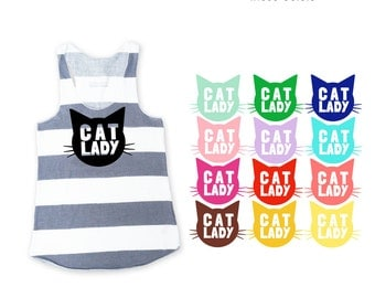 Cat Lady Heather Grey Striped Racerback Tank Top - Family Photos, Cat Obsesses, Meow, Kitty, Cat Mom, Gift for her