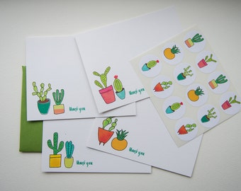 Watercolor Cactus Personalized Stationery or Thank You Notecards with Stickers