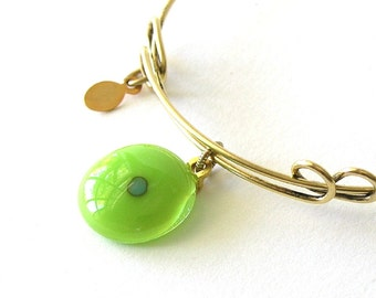 Simple Summer Bangle - New Leaf Green - Adjustable Bangle Bracelet - Reactive Glass Charm - Spring Green Glass - Fused Glass Cabochon