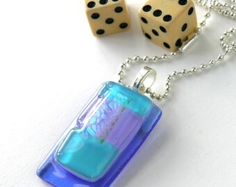 Cool Blues Glass Pendant Necklace - Lavender, Aqua and Marine Blue Glass - Silver Chain - Abstract Dichroic Accents
