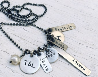 Family Charm Necklace {Sterling Silver}