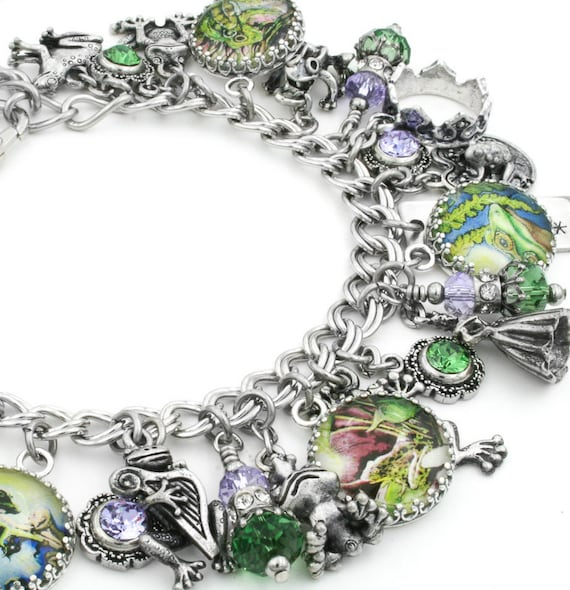Charm Bracelet, Frog Jewelry, Silver Charm Bracelet, Frogs Charm Bracelets, The Enchanted Frog, Fantasy Jewelry