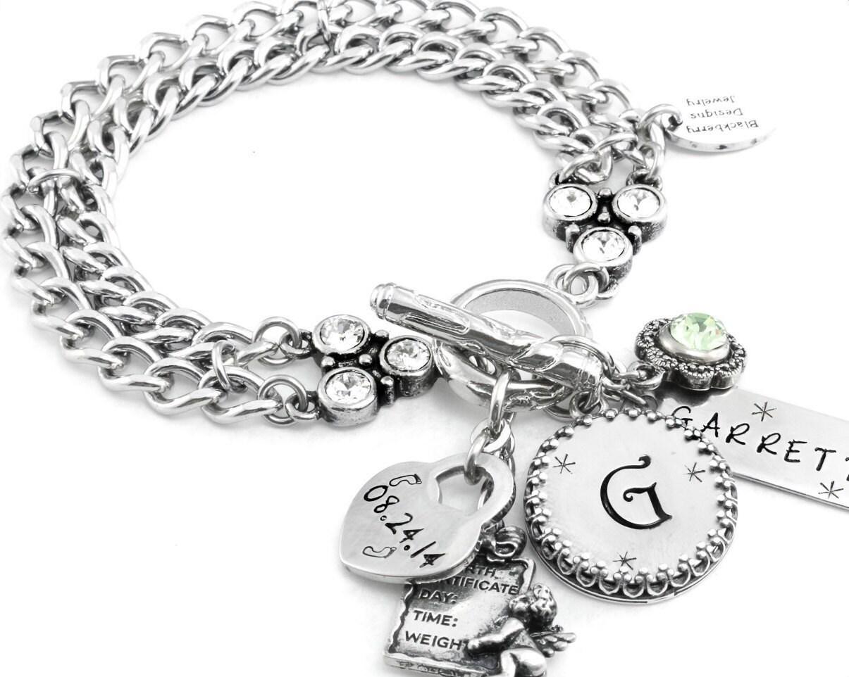 New Mom Custom Jewelry, Baby Girl Bracelet, Custom Baby Jewelry ...