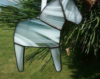 White and Clear Swirl Dala Horse Ornament, Swedish Christmas Ornament, Tiffany Style Stained Glass Horse, Swedish Custom, Free US shipping
