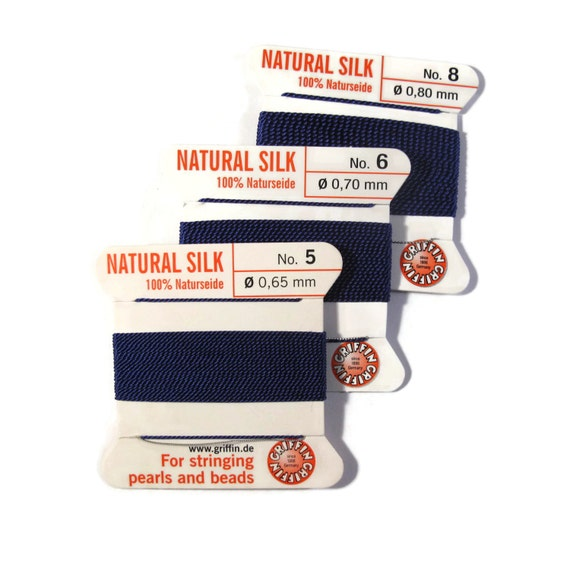 Size 5, 6 or 8 : Dark Navy Blue Cord, 100% Silk Cord with Built-In Stainless Steel Needle for Jewelry & Hand Knotting, 2 Yard Spool