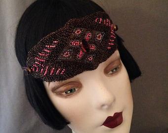 1920s Headband, Headpiece , Gatsby, Pink, Black, Topaz, Bronze, Glass Beads, Prong Set Stones