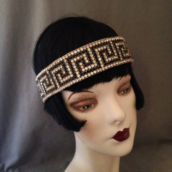 Awesome 1920s Gatsby Flapper Greek Key Patterned Rhinestone, Jet Headband, Headpiece......Stunning