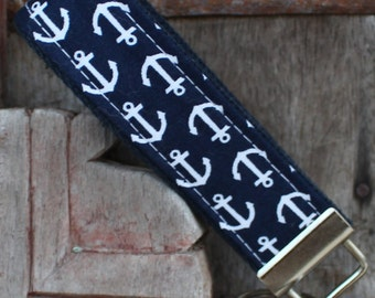 READY TO SHIP-Beautiful Key Fob/Keychain/Wristlet-White Anchors on Navy