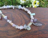 Anklet - Beaded Gemstone - Soft Pastel - Fluorite Multi Crystals - Translucent Healing Gems - Good Vibes - Free Spirit - Feather Charm