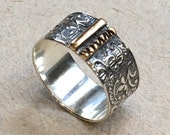 Mens and Womens wedding band, Silver gold matching ring, botanical ring, wide silver ring, unisex rustic band, floral ring - Voyage 2  R2367